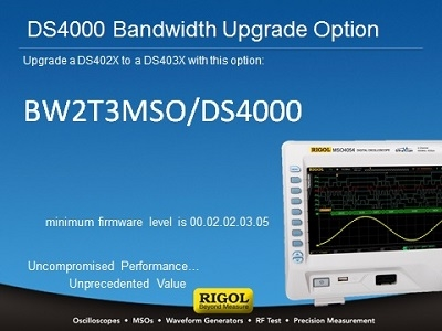 Rigol BW2T3-MSO/DS4000 Bandwidth Upgrade Licence